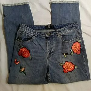 Who What Wear embroidered blue denim jeans-sz 10